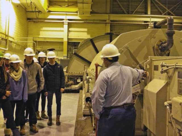 Scarsdale students visit a waste-to-energy plant.