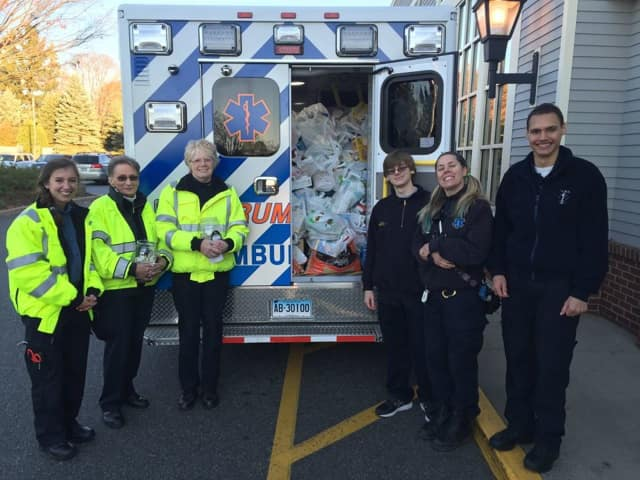 Trumbull EMS recently collected an ambulance full of food for the Trumbull Food Bank