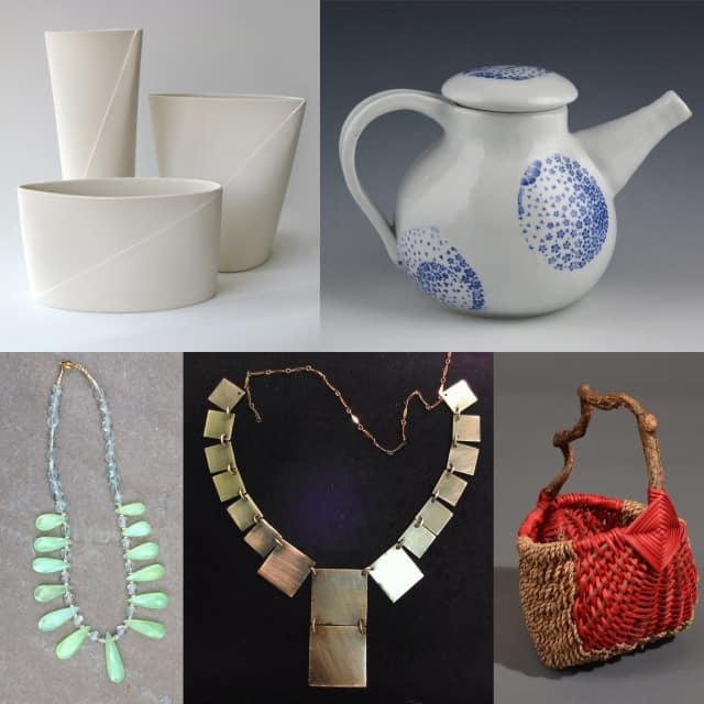 From the artisan trunk show, clockwise from top left: vases by Romi Hefetz, tea pot by Karen Ford, basket by Tina Puckett, necklace by Steve Wallerstein and necklace of faceted Parrot Green Onyx almond briolettes by NMS Designs.