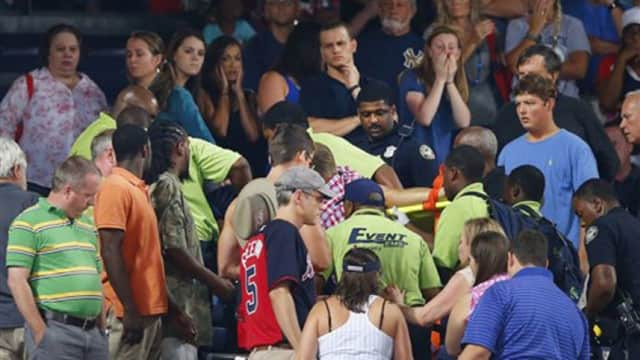 A fan died when falling from the upper deck of Atlanta's Turner Field during Saturday night's Braves-Yankees game.