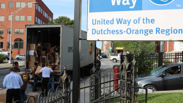 UPS Freight Montgomery sent a team of volunteers to United Way's Poughkeepsie office to pick up almost 9,000 pounds of items the community donated for survivors of Hurricane Harvey in Texas.