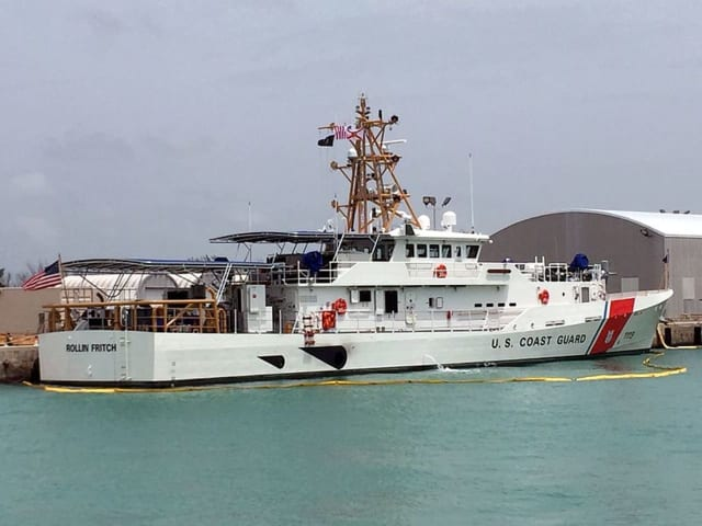 USCGC Rollin A. Fritch prepares to head to her homeport, Cape May, NJ.