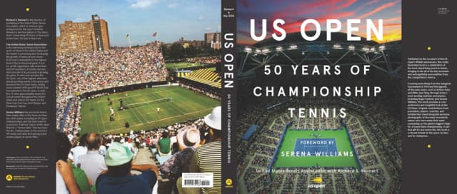 """Dust jacket of the new """"US Open: 50 Years of Championship Tennis."""" Courtesy United States Tennis Association."""