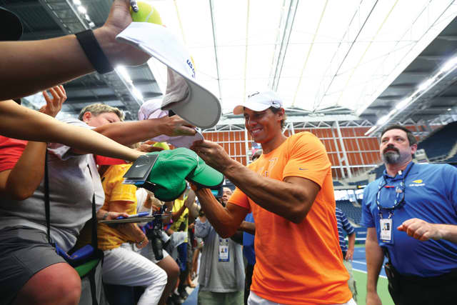 Rafael Nadal greets the public at Fan Week before last year's US Open. Courtesy Getty Images.