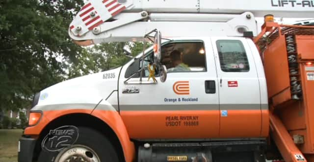 Utility trucks were out Monday night making repairs after damaging storms hit New City and throughout the Hudson Valley.