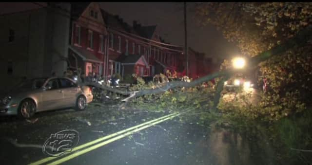 A downed tree on Frederic Street early Friday knocked out power to dozens of Yonkers neighbors.