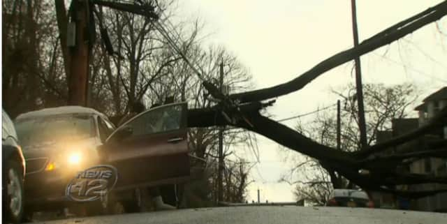 A storm Tuesday brought down trees and power lines, and caused damage in the Yonkers neighborhood along Lincoln Terrace.