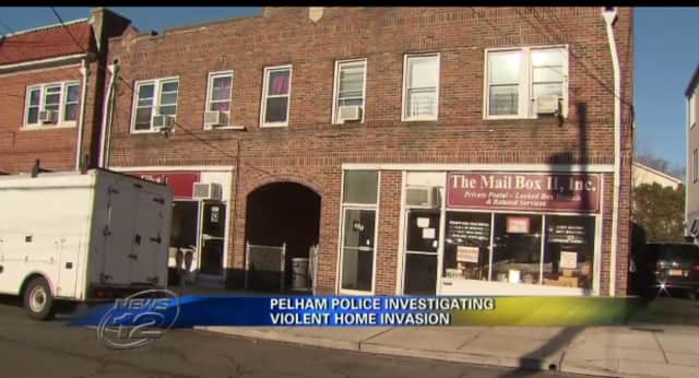 Pelham police are looking for three men witnesses saw enter this Pelham building where a man and woman were injured Sunday.