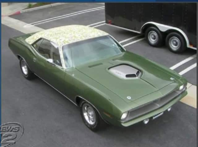 """Police are searching for this $1.4 million 1970 classic Plymouth Barracuda """"mod top"""" car after it was stolen recently in Pelham Manor, according to News 12 Westchester."""