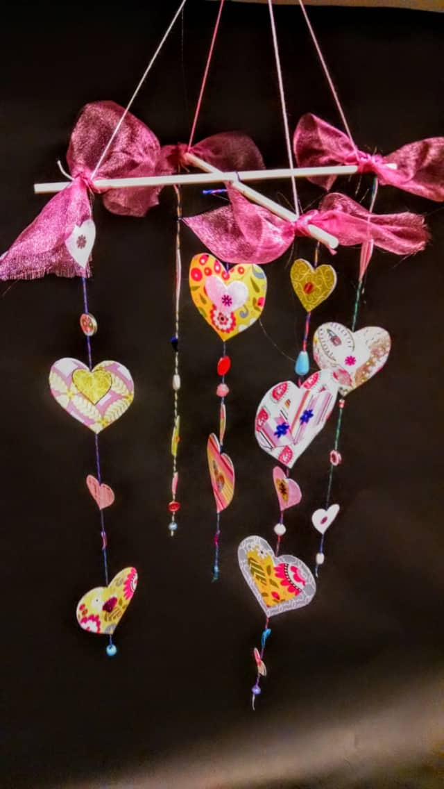 Older kids can make Valentine's Day mobiles at the Edith Wheeler Memorial Library.