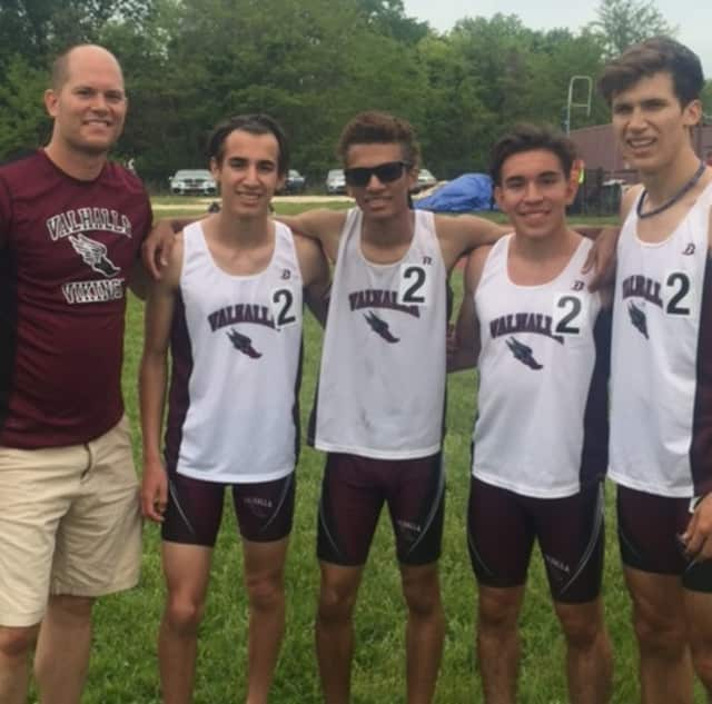 Valhalla High School boys track team of Thomas Avolio, JaeQuan Bedore, Miguel Arias and Kaio DaSilva broke race records at the May 20-21 Westchester County Championships at Mount Vernon High School.