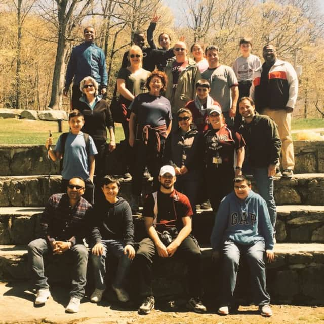 Students and staff members from Valhalla Middle School's Partner's Program enjoying their recent spring field trip to Green Chimneys.