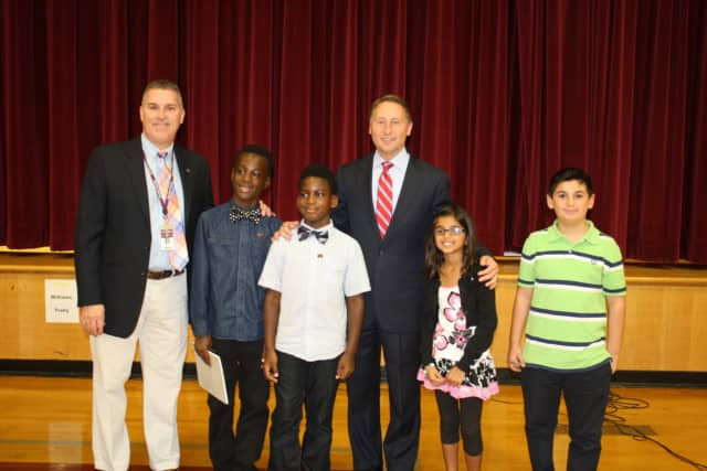 Westchester County Executive Rob Astorino (center) stands with Kensico School Principal Matt Curran (far left) and the Kensico student government in Valhalla.