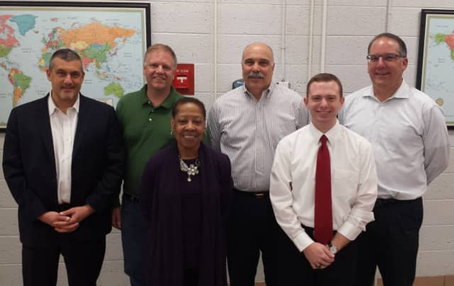 School Adminstrators, teacher, staff, and the PTA thanked the Valhalla Board of Education for their service. Ronald Cavallo, James Adams, LaVerne Clark, Robert Ierace, Anthony Amiano, Joseph Garbus. Not present: Valentina Belvedere.