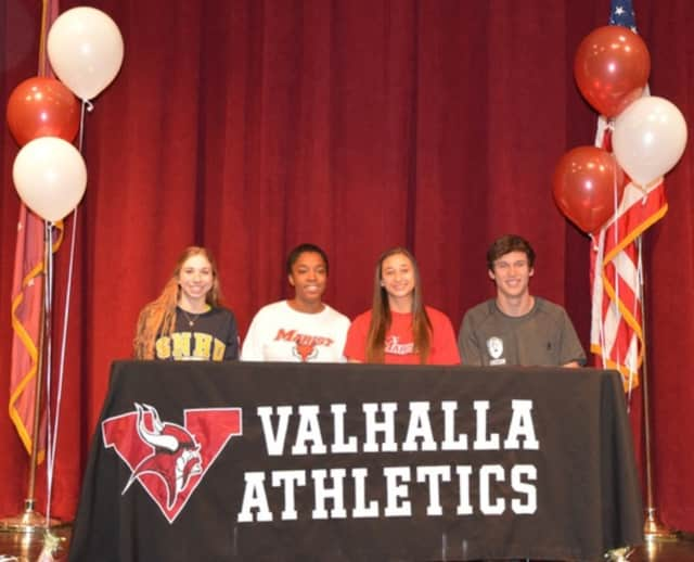 This was the first year that Valhalla High School had four seniors sign letters of intent. Last year, only one student was awarded a scholarship.