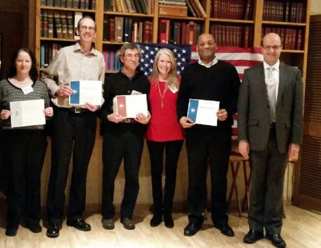 (left to right) Valley Toastmaster members Mary Monahan, Greg Holden, Peter Kukle, Jane Paterson, Henry Pruitt and Richard Paterson