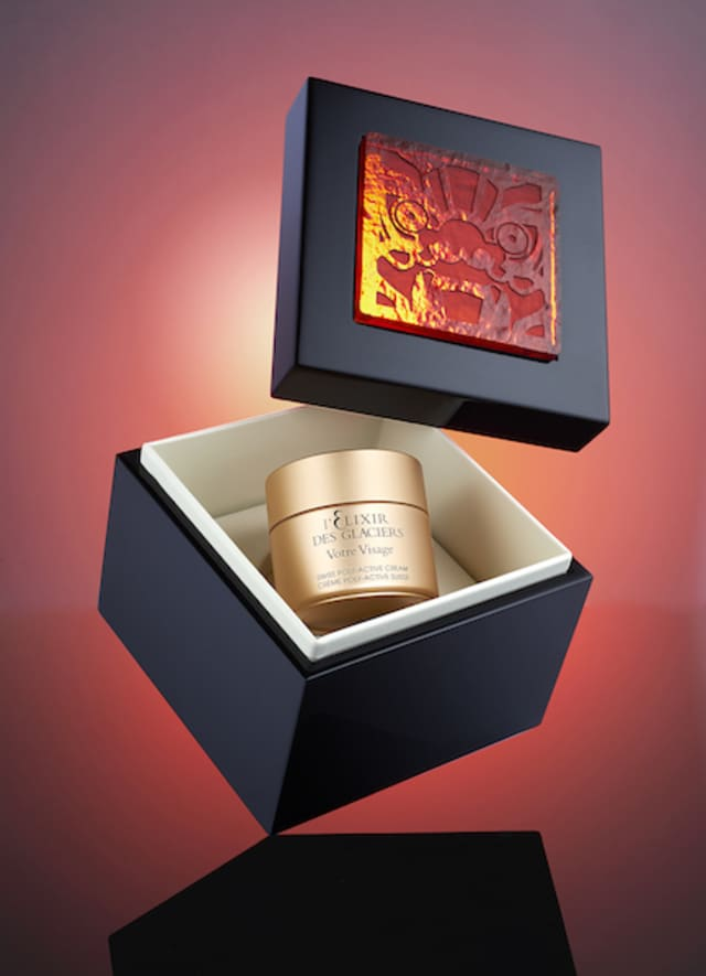 Valmont is offering a limited Red Dragon Edition of its l'Elixir des Glaciers for the holiday season. Courtesy Valmont.
