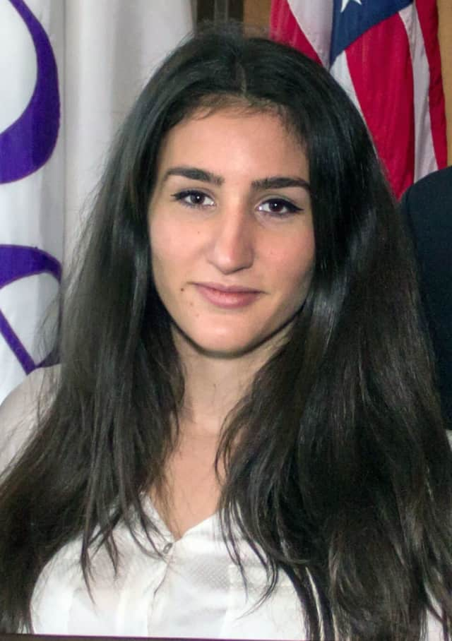 Nadia Vaso, 20, of Fort Lee is Bergen Community College's first recipient of the John Stauff Female Scholar Athlete of the Year award. The award honors female students who excel in both sports and academics.
