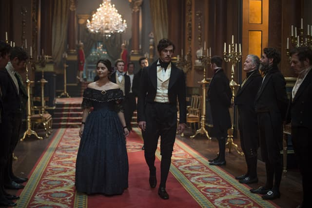 """Victoria, Season 2 MASTERPIECE on PBS Episode One – """"A Soldier's Daughter"""" & """"The Green-Eyed Monster"""" Sunday, January 14, 2018 at 9pm ET (2 Hours) New mother Victoria is impatient to return to the business of ruling a nation, while Albert attempts to protect her from the increasingly desperate news regarding British soldiers in Afghanistan. Victoria is thrown into turmoil by the realization that she is pregnant again, and her equilibrium is further threatened by Albert's burgeoning friendship with the lady mathematician, Ada Lovelace. Shown from left to right: Jenna Coleman as Victoria and Tom Hughes as Albert For editorial use only. ©ITVStudios2017 for MASTERPIECE"""