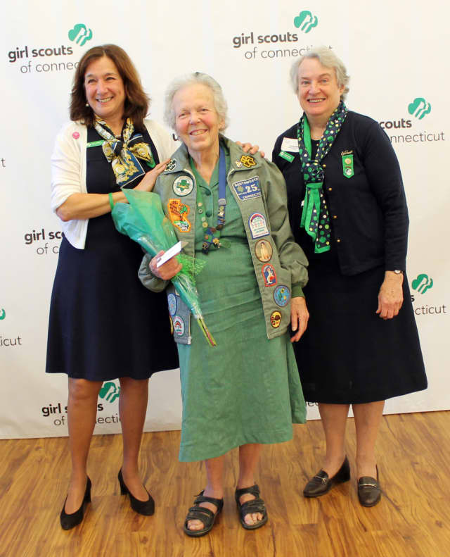 From left, Girl Scouts of Connecticut's Chief Executive Officer Mary Barneby, Courtenay Austin of Norwalk and former GSOFCT Board President Caroline Sloat.