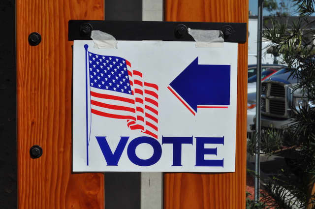 A voting sign in Orange, California, 2008. Photograph by Tom Arthur.