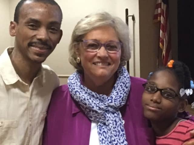 Debbie Laguerre, her father Vladimir and her Watermark Coach Barbara Sterne at her Watermark for Kids ceremony in Bridgeport