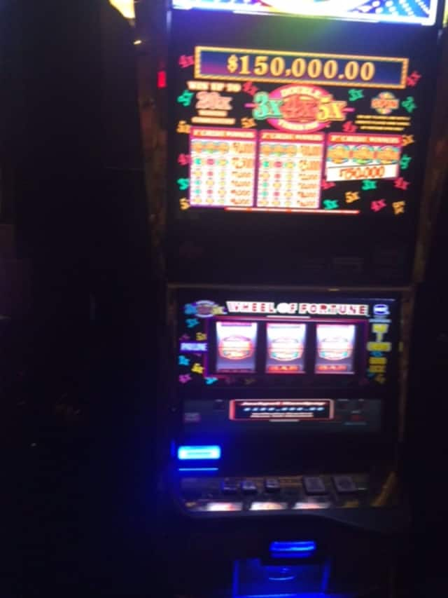"""Mel"" from Larchmont won big on this ""Wheel of Fortune"" slot machine at Empire City Casino on Friday."