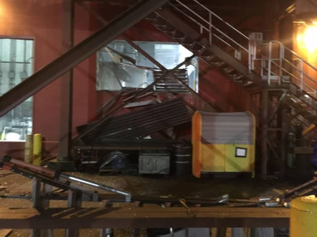 A large explosion damaged a water treatment plant at 111 Harbor View Ave. in Stamford.