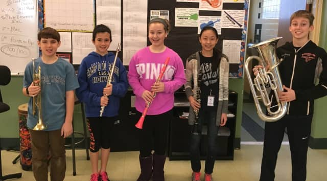 Five sixth graders from Westwood Regional Middle School were selected to the New Jersey School Music Association's Elementary Honors Band.