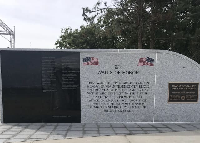 The 9/11 Walls of Honor remembering the victims of 9/11-related illness is open at a popular beach on Long Island.