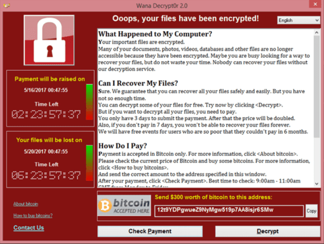 The WannaCry ransomware virus.