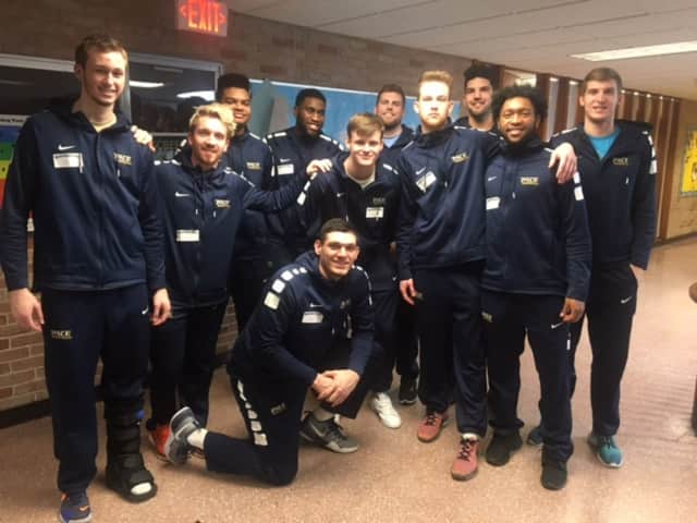 The Pace University men's basketball team paid a visit to William B. Ward Elementary in New Rochelle as part of their community outreach program.