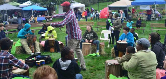 Attendees enjoy a drumming circle at Wartburg's 2014 Fall Festival.