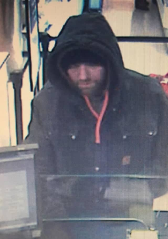 Man wanted for two bank robberies, white, around age 40 with salt and pepper facial hair