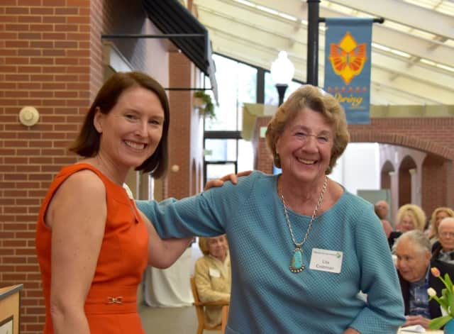 Stella Clarke, Waveny's Director of Volunteers with long-time volunteer, Lila Coleman, who was recently honored for 35 years of service to Waveny.