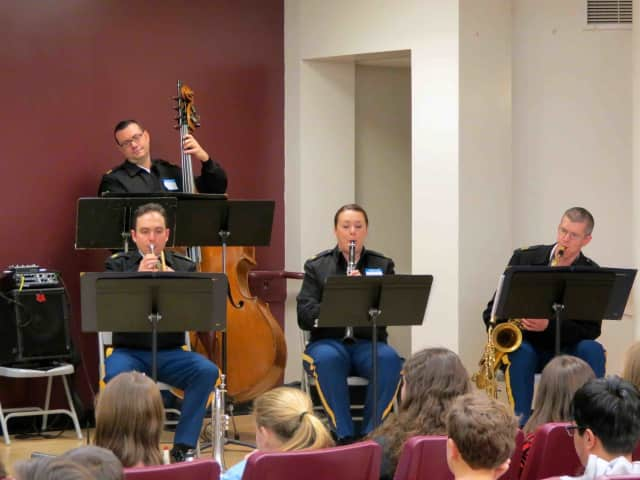 West Point's Quintet Seven perform for Briarcliff band students.