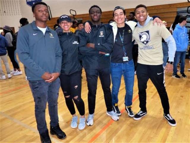 Wes Rideau-Winds, Vanessa Letman, Andrew Amoyaw, Joe Farro, and Colin Morgan. Farro plans to enlist in the Army following graduation.