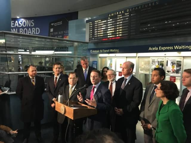 Westchester County Executive Rob Astorino speaks alongside New York City mayor Bill de Blasio on Tuesday.