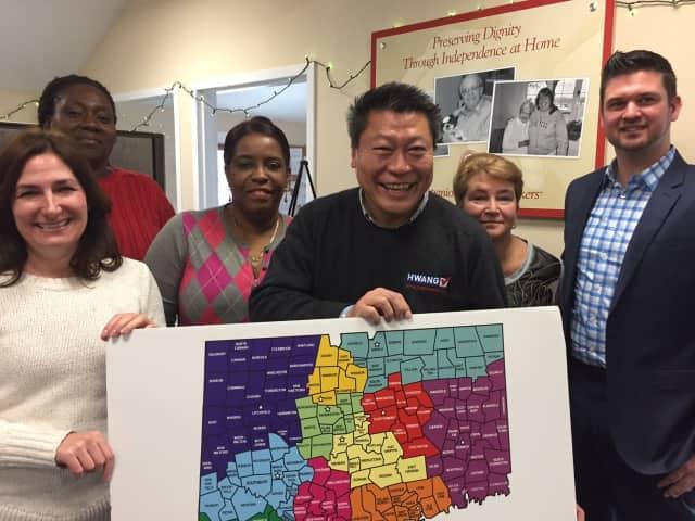 State Sen. Tony Hwang visits Companions & Homemakers in Westport.