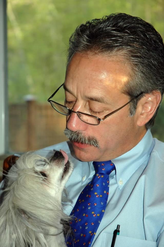Dr. Dean J. Cerf with his beloved late dog, Willow.