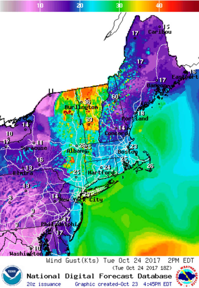 A wind advisory has been issued for parts of Fairfield County on Tuesday