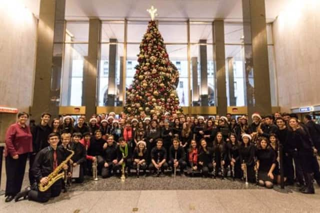 Students from the Irvington High School's wind ensemble and choir performed recently at the Bernard Kaplan Memorial Concert in the MetLife Building in New York City.