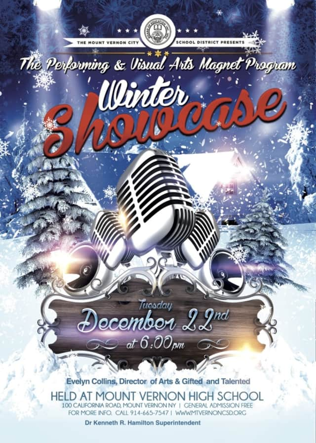 "Mount Vernon's Performing and Visual Arts Magnet School will present its annual ""Winter Showcase"" at 6 p.m. Tuesday, Dec. 22. The show is free and will be held at the Mount Vernon High School on California Road."