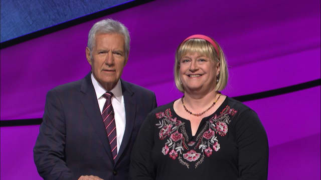 "Fran Fried -- here with host Alex Trebek -- has wanted to be on ""Jeopardy!"" for most of her life."