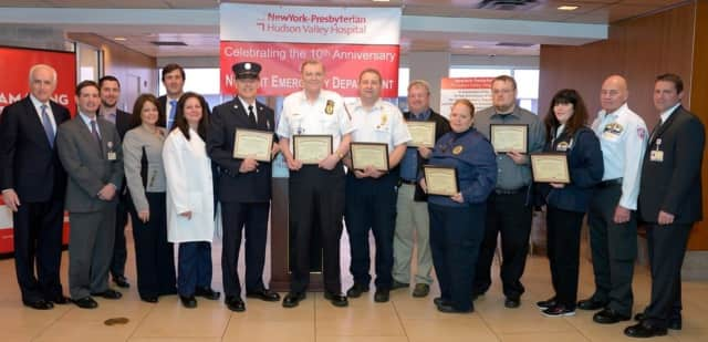 Members of the Volunteer Fire Departments-EMS of Mahopac Falls and Verplanck, along with ambulance corps volunteers from Cortlandt, Mohegan Lake, Ossining, Peekskill and Yorktown join Emergency Department physicians and staff.