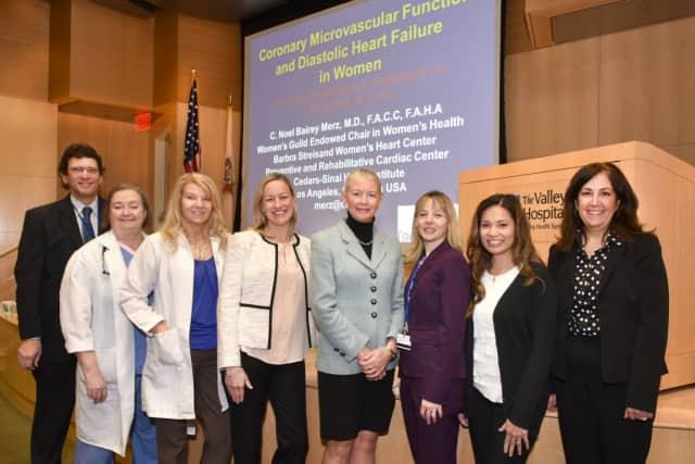 L to R: Dr. Gerald Sotsky, Dr. Janet Strain, Mary Collins, R.N., Dr. Benita Burke, Dr. C. Noel Bairey Merz, Dr. Kariann Abbate, Dr. Sarah DeLeon Mansson, and Julie Karcher, VP of Administration.