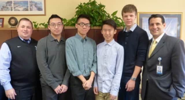 Photo from left to right: Principal, Mr. John P. Pascale, Jack Xiong, Allan Chan, Jonathan Zhang, Malcolm Cantor, and Director of Guidance, Mr. Dominick Gliatta.