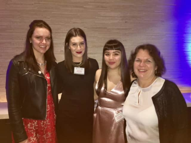 From left to right: LIM College YMA Scholarship winners Charlotte Sandness, Ashley Guarda, Colleen Sheehan, and LIM College Professor Marla Greene.