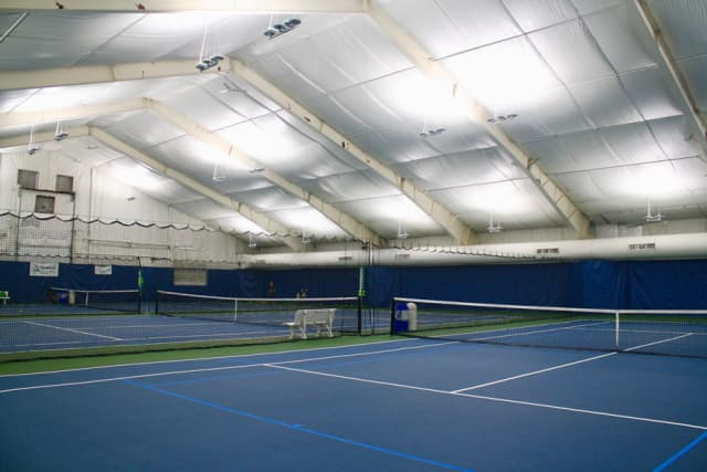 Indoor tennis courts at Yonkers Tennis Center. Courtesy Yonkers Tennis Center.