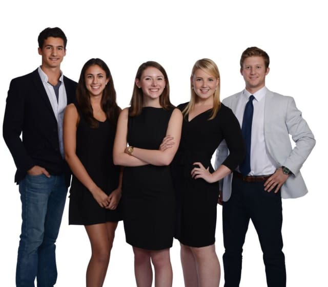 The Friendress team: West Shepherd from Winchester, Mass.; Julia Tomeo from Fairfield, Conn.; Kate Jansen from Wilton, Conn.; Abby Schell from Edina, Minn.; and David Salvay from Los Angeles.